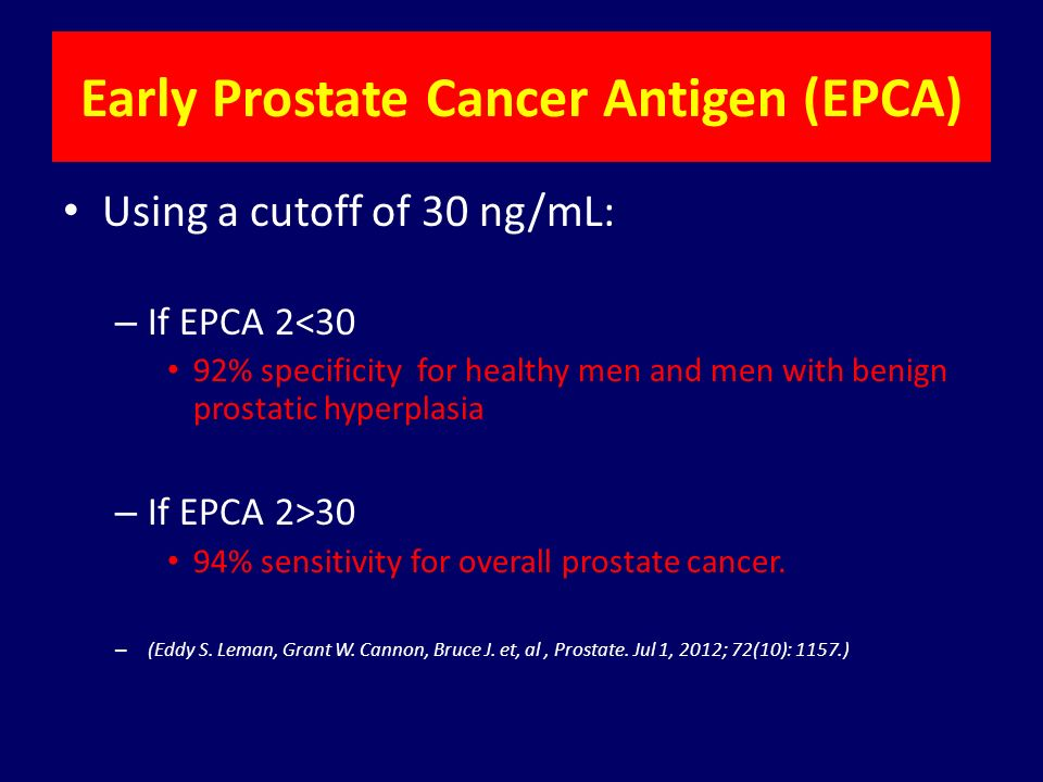 epca a silver lining for early diagnosis of prostate cancerearly prostate cancer antigen (epca) using a cutoff of 30 ng ml