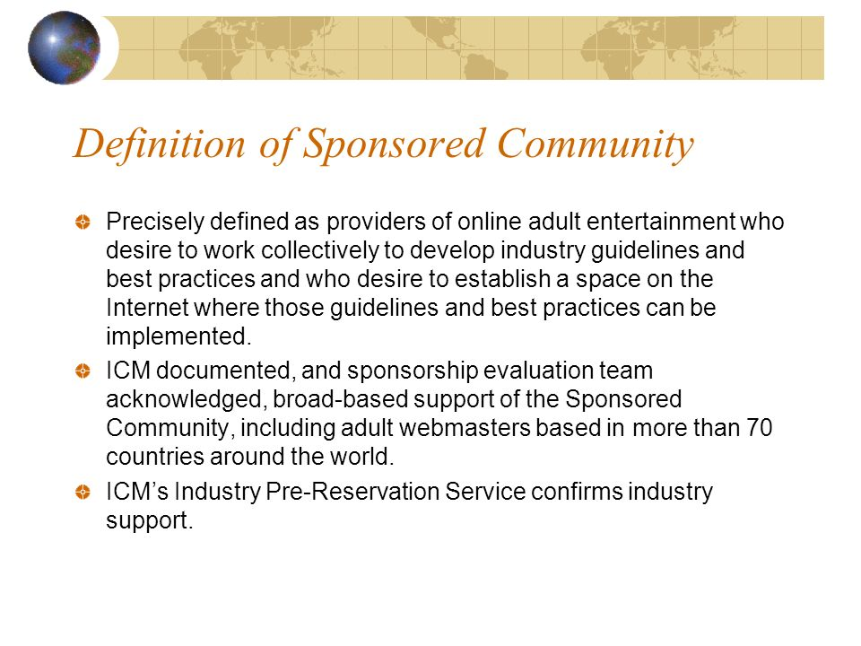 5 Definition of Sponsored Community Precisely defined as providers of online  adult entertainment who desire to work collectively to develop industry ...