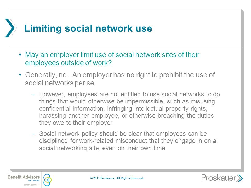 Limiting social network use May an employer limit use of social network sites of their employees outside of work.