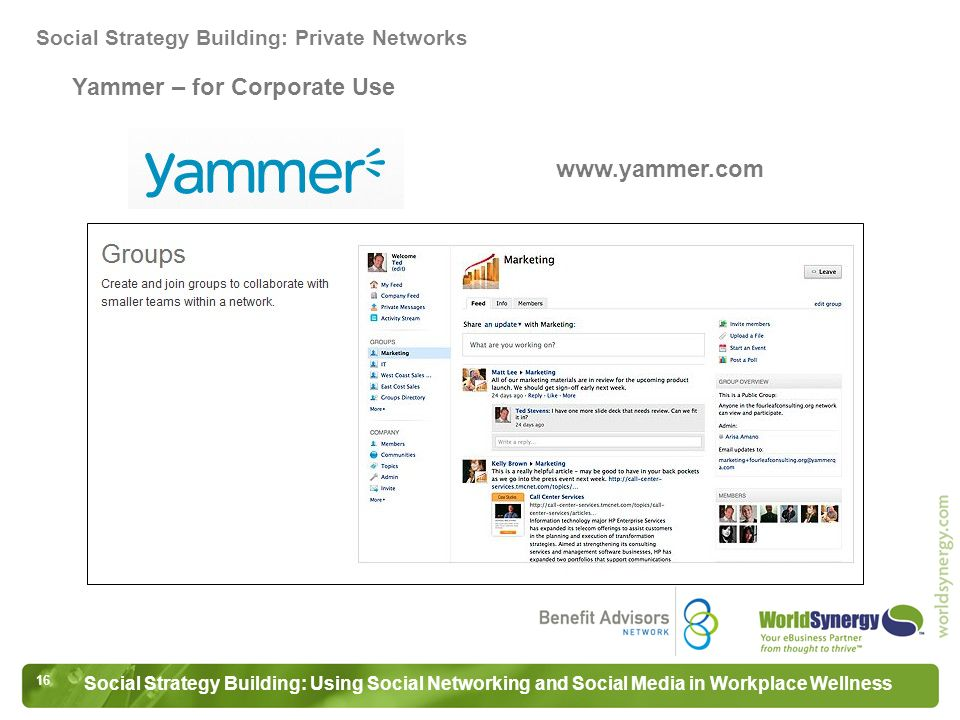 16 Social Strategy Building: Using Social Networking and Social Media in Workplace Wellness Yammer – for Corporate Use Social Strategy Building: Private Networks www.yammer.com