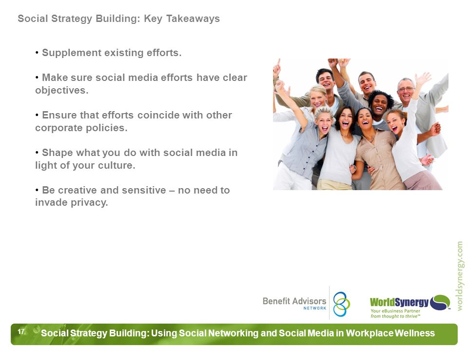 17 Social Strategy Building: Using Social Networking and Social Media in Workplace Wellness Supplement existing efforts.