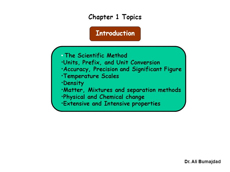 Chapter 1 Topics Dr.