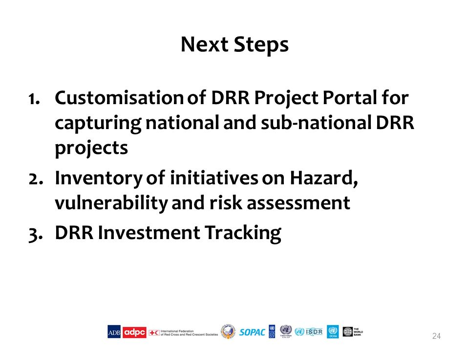 Next Steps 1.Customisation of DRR Project Portal for capturing national and sub-national DRR projects 2.Inventory of initiatives on Hazard, vulnerability and risk assessment 3.DRR Investment Tracking 24