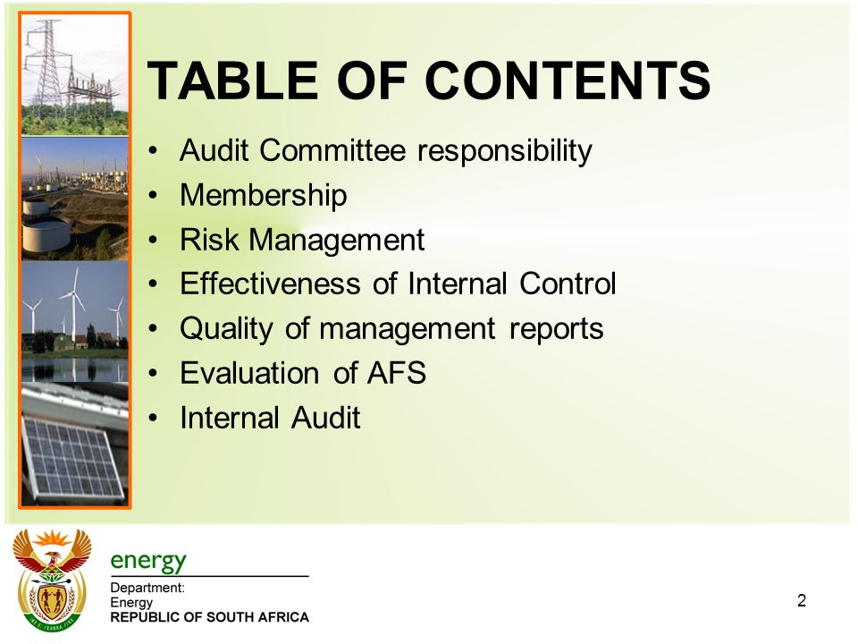 TABLE OF CONTENTS Audit Committee responsibility Membership Risk Management Effectiveness of Internal Control Quality of management reports Evaluation of AFS Internal Audit 2