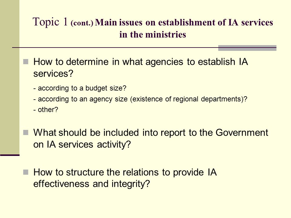 Topic 1 (cont.) Main issues on establishment of IA services in the ministries How to determine in what agencies to establish IA services.