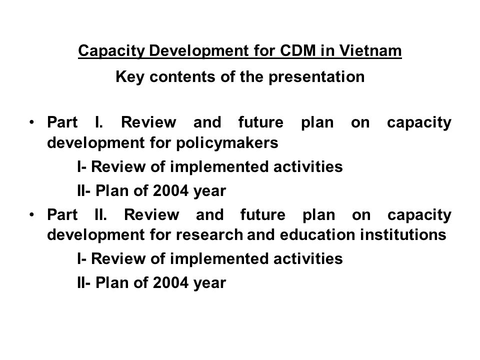 Key contents of the presentation Part I.
