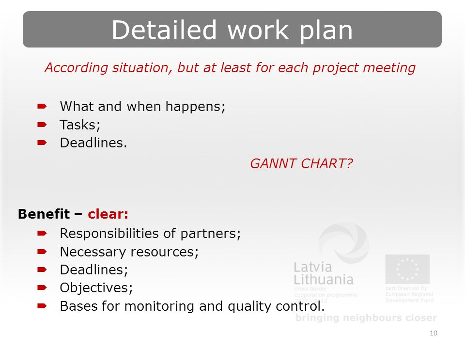 Detailed work plan 10 According situation, but at least for each project meeting  What and when happens;  Tasks;  Deadlines.