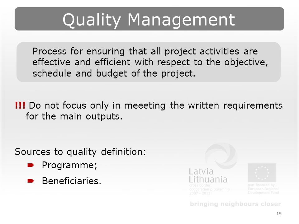 Quality Management 15 !!.