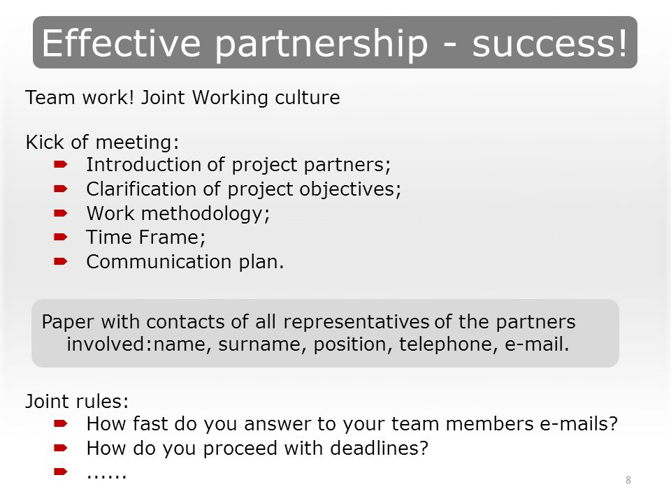 Effective partnership - success. 8 Team work.