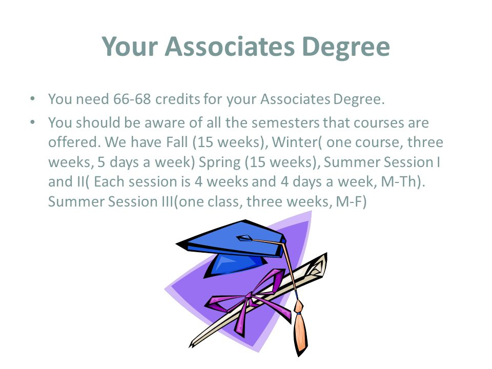 Your Associates Degree You need credits for your Associates Degree.