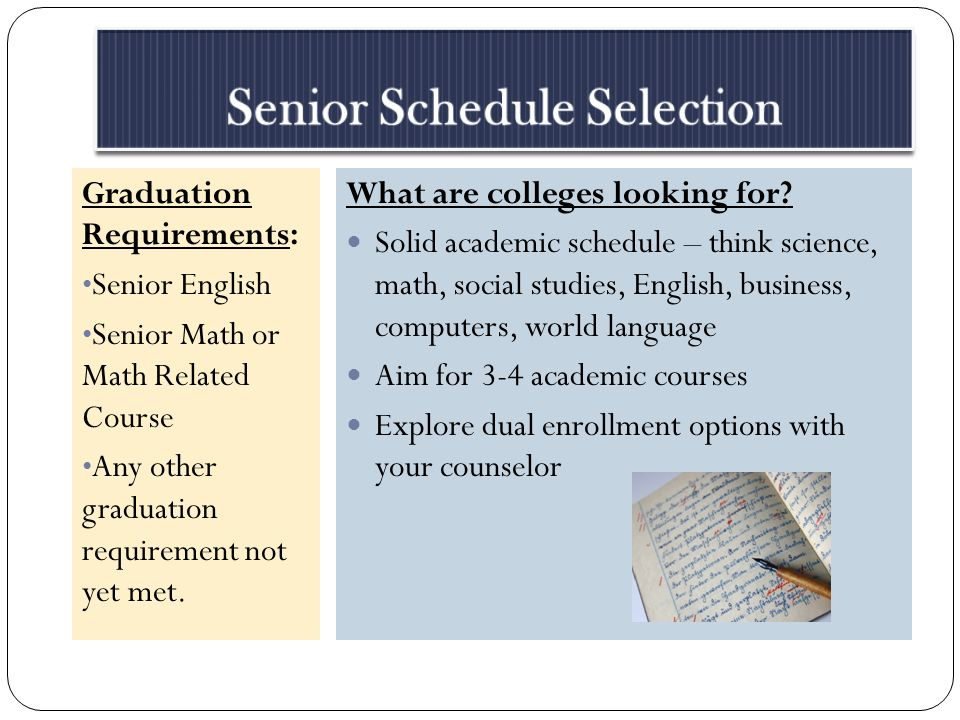Graduation Requirements: Senior English Senior Math or Math Related Course Any other graduation requirement not yet met.