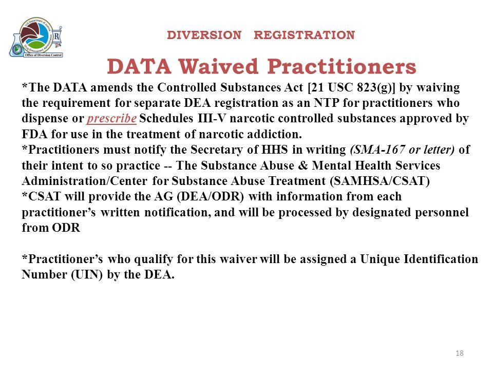 U.S. Department of Justice Drug Enforcement Administration DIVERSION ...
