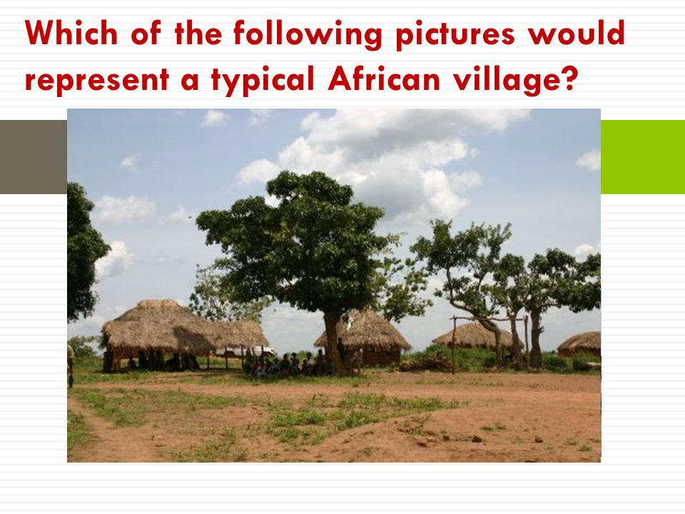 Which of the following pictures would represent a typical African village