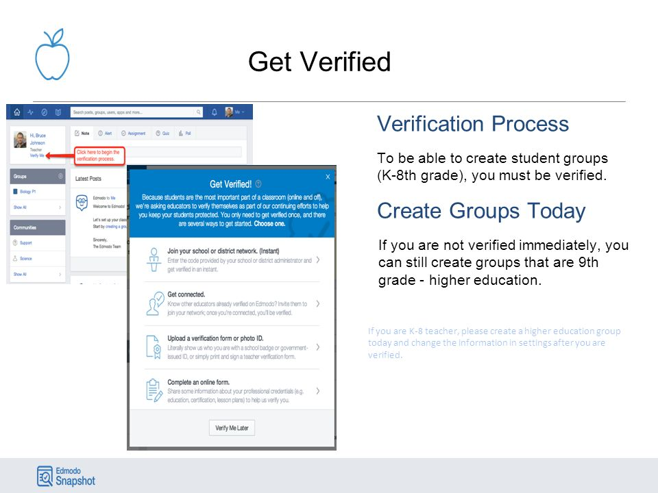 Get Verified Verification Process To be able to create student groups (K-8th grade), you must be verified.