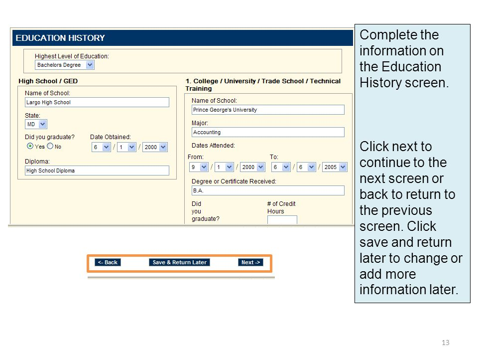 Complete the information on the Education History screen.