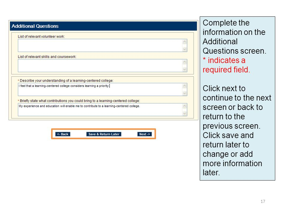 Complete the information on the Additional Questions screen.