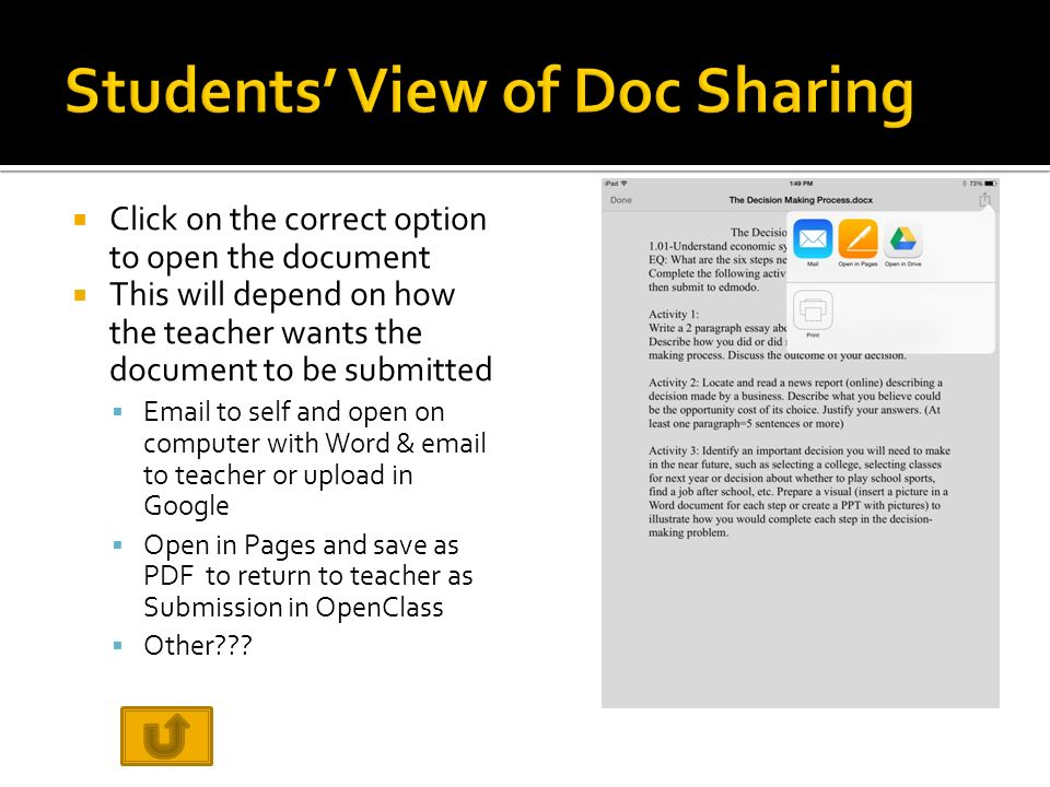  Click on the correct option to open the document  This will depend on how the teacher wants the document to be submitted   to self and open on computer with Word &  to teacher or upload in Google  Open in Pages and save as PDF to return to teacher as Submission in OpenClass  Other