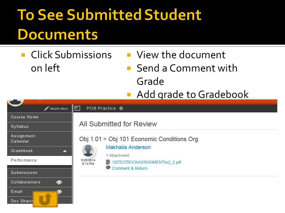  Click Submissions on left  View the document  Send a Comment with Grade  Add grade to Gradebook