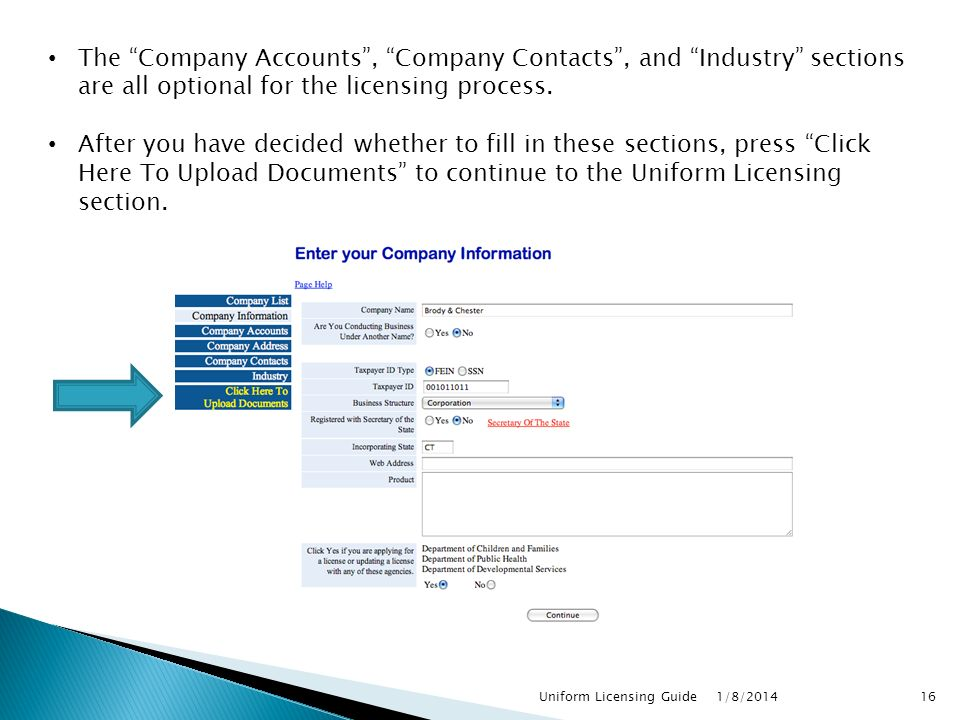 The Company Accounts , Company Contacts , and Industry sections are all optional for the licensing process.