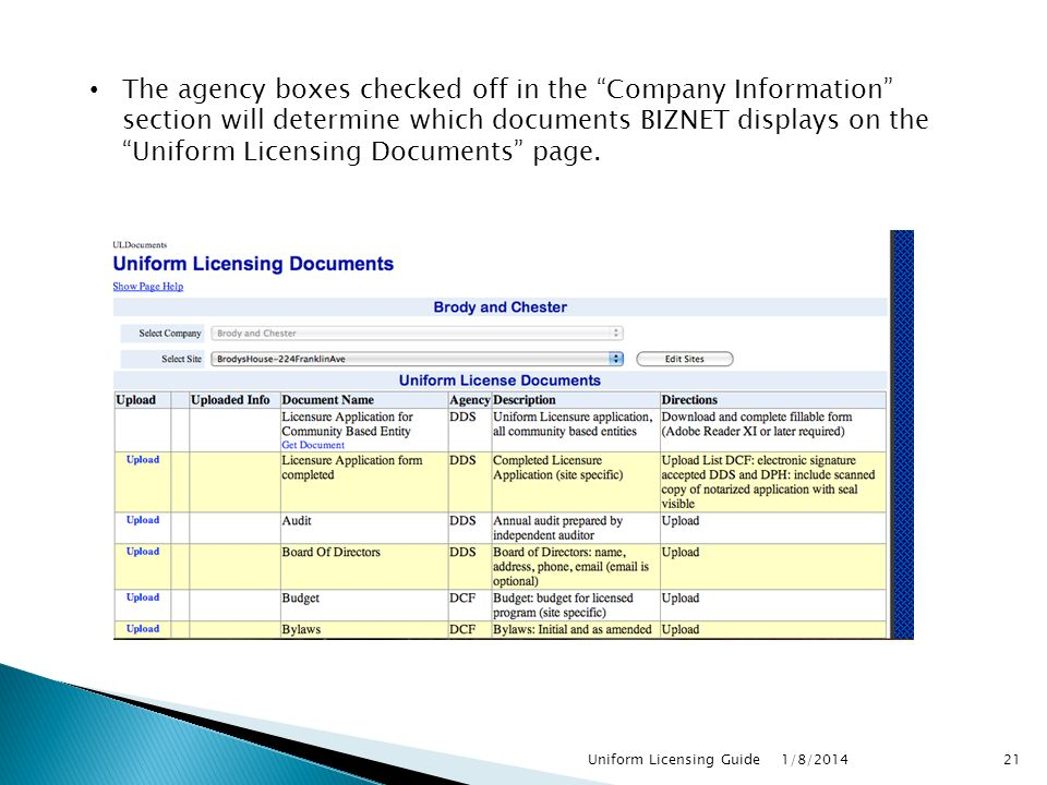 The agency boxes checked off in the Company Information section will determine which documents BIZNET displays on the Uniform Licensing Documents page.