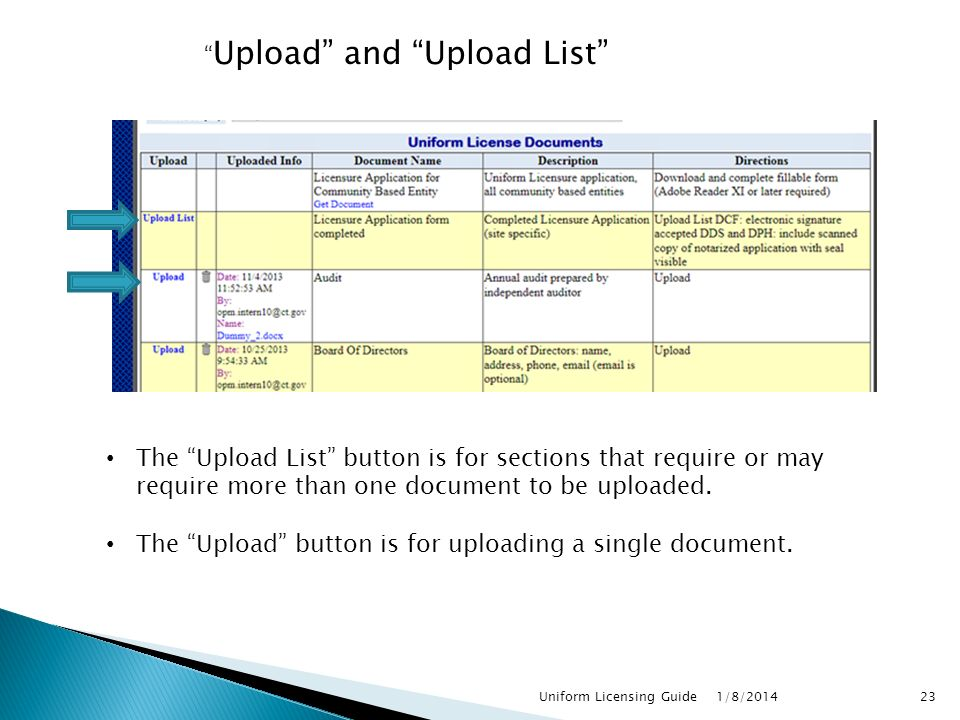 Upload and Upload List 1/8/ Uniform Licensing Guide The Upload List button is for sections that require or may require more than one document to be uploaded.