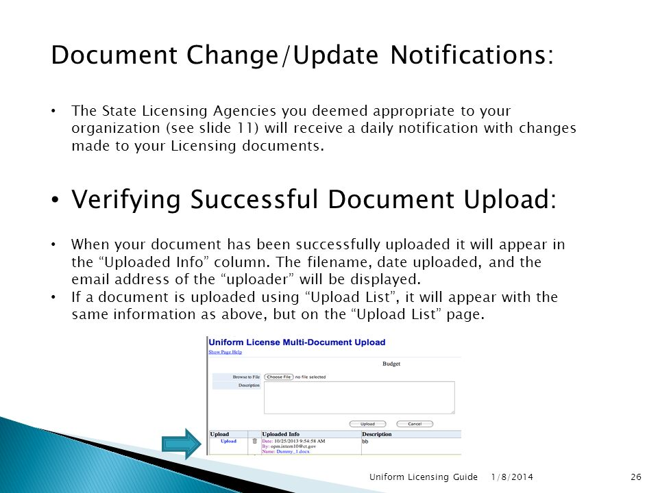Document Change/Update Notifications: The State Licensing Agencies you deemed appropriate to your organization (see slide 11) will receive a daily notification with changes made to your Licensing documents.