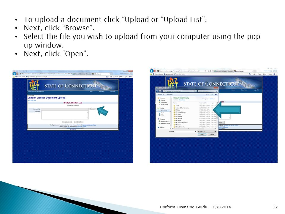To upload a document click Upload or Upload List .