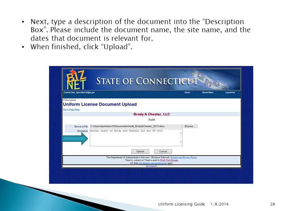 Next, type a description of the document into the Description Box .