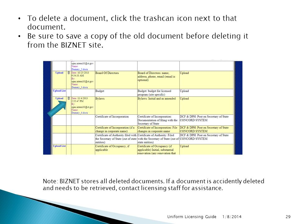 To delete a document, click the trashcan icon next to that document.