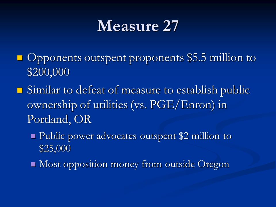 Measure 27 Opponents outspent proponents $5.5 million to $200,000 Opponents outspent proponents $5.5 million to $200,000 Similar to defeat of measure to establish public ownership of utilities (vs.