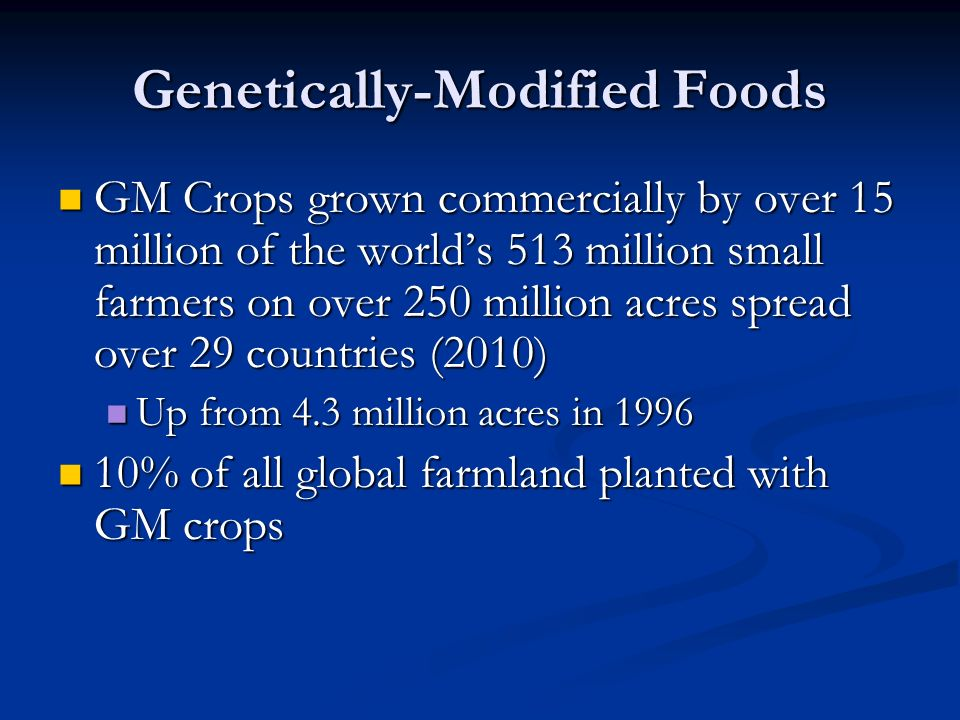 Genetically-Modified Foods GM Crops grown commercially by over 15 million of the world's 513 million small farmers on over 250 million acres spread over 29 countries (2010) GM Crops grown commercially by over 15 million of the world's 513 million small farmers on over 250 million acres spread over 29 countries (2010) Up from 4.3 million acres in 1996 Up from 4.3 million acres in 1996 10% of all global farmland planted with GM crops 10% of all global farmland planted with GM crops