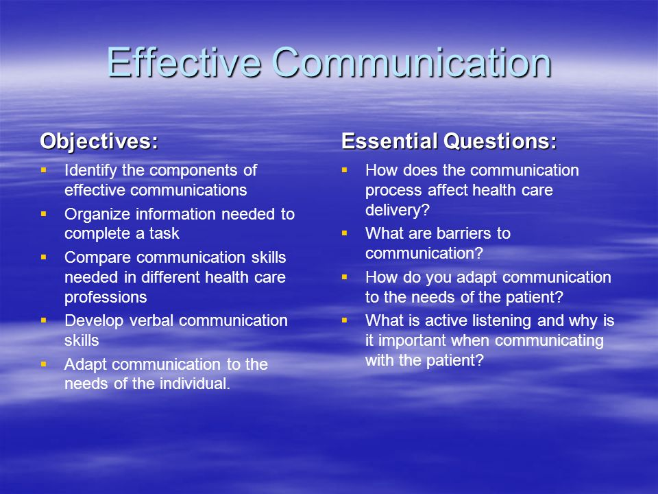 Effective Communication Objectives:   Identify the components of effective communications   Organize information needed to complete a task   Compare communication skills needed in different health care professions   Develop verbal communication skills   Adapt communication to the needs of the individual.