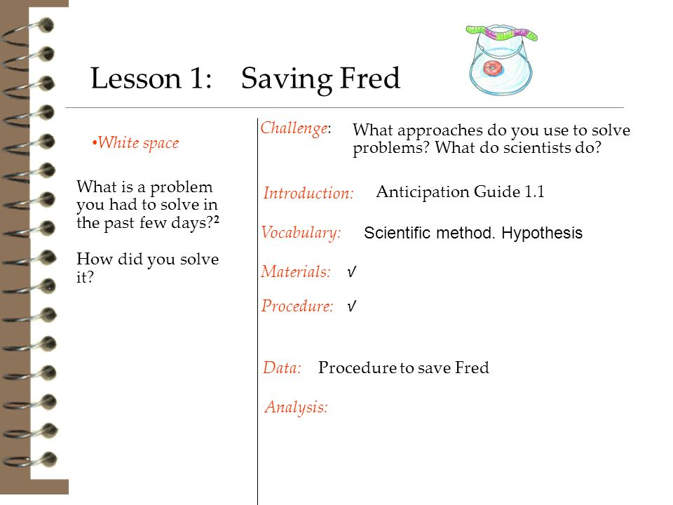 White space Challenge: Procedure to save Fred Introduction: Materials: Procedure: Vocabulary: Data: Analysis: Lesson 1: Saving Fred What is a problem you had to solve in the past few days.