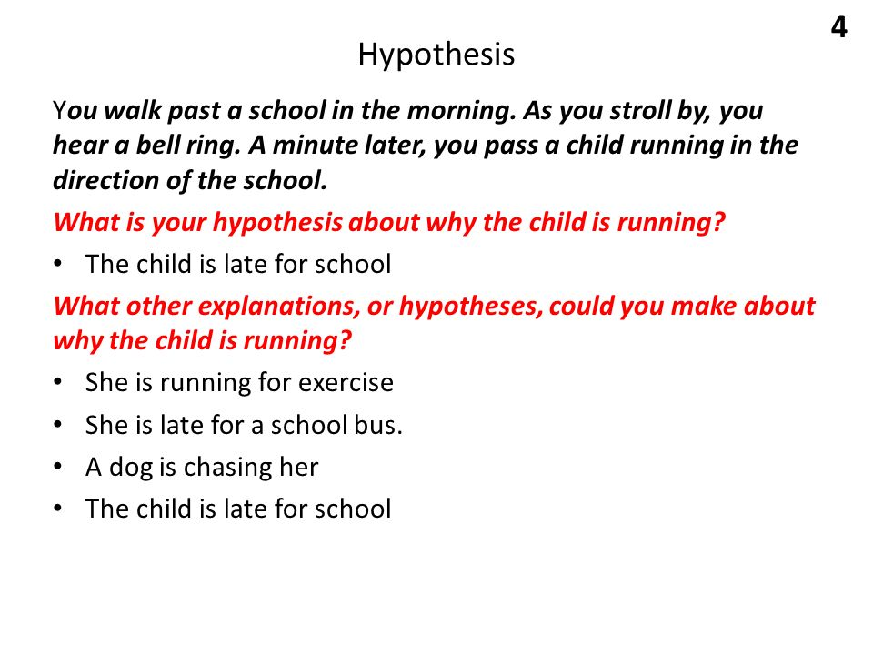 Hypothesis You walk past a school in the morning. As you stroll by, you hear a bell ring.