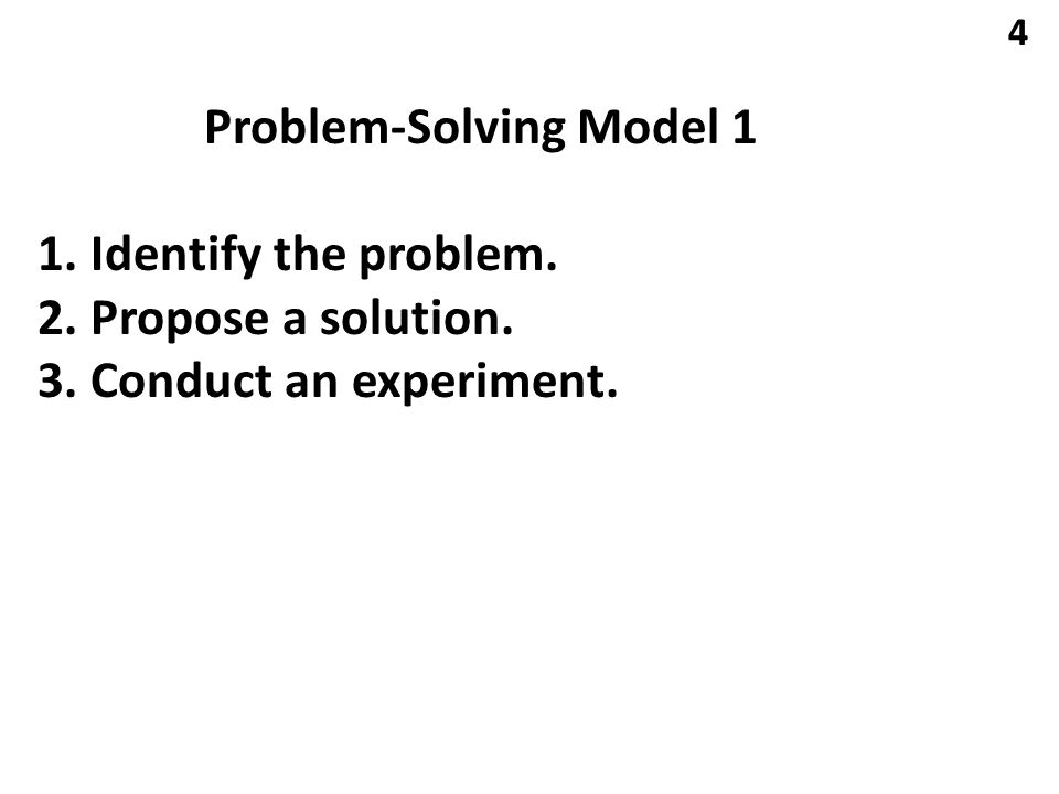 Problem-Solving Model 1 1. Identify the problem. 2. Propose a solution. 3. Conduct an experiment. 4