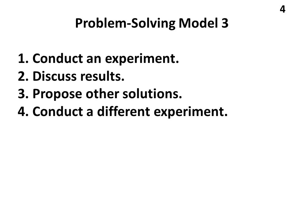 Problem-Solving Model 3 1. Conduct an experiment.