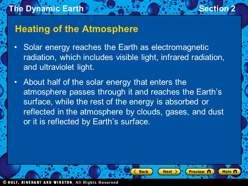 The Dynamic EarthSection 2 Heating of the Atmosphere Solar energy reaches the Earth as electromagnetic radiation, which includes visible light, infrared radiation, and ultraviolet light.
