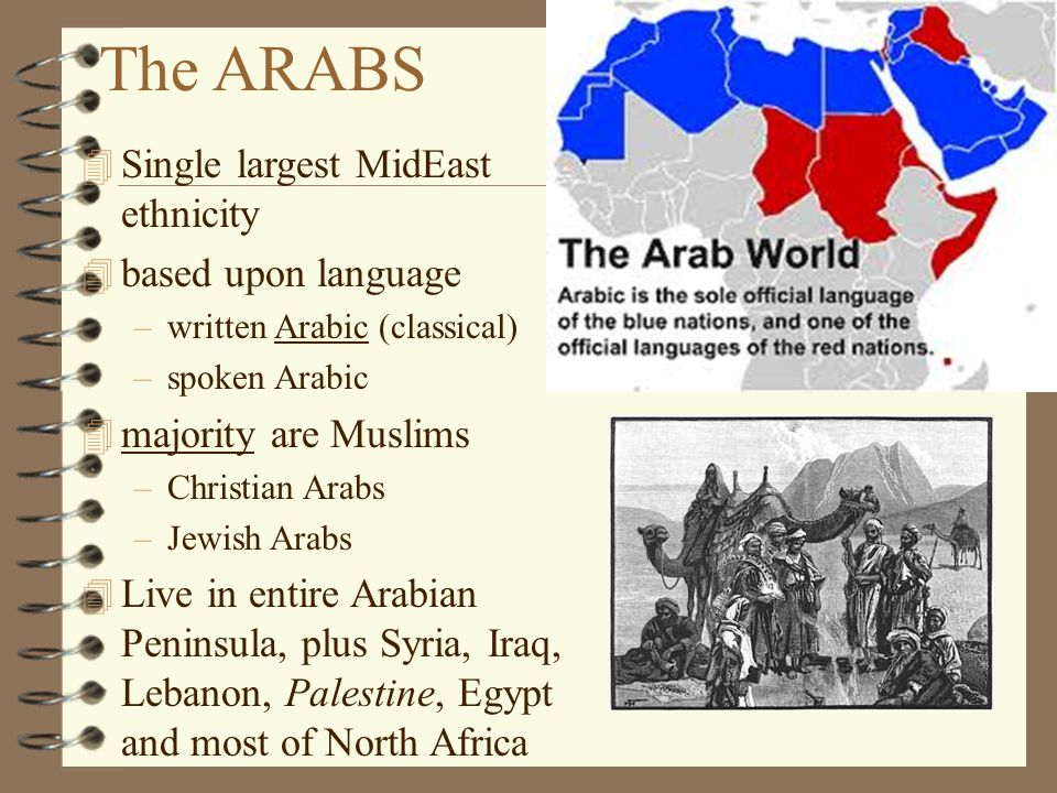 The ARABS 4 Single largest MidEast ethnicity 4 based upon language –written Arabic (classical) –spoken Arabic 4 majority are Muslims –Christian Arabs –Jewish Arabs 4 Live in entire Arabian Peninsula, plus Syria, Iraq, Lebanon, Palestine, Egypt and most of North Africa