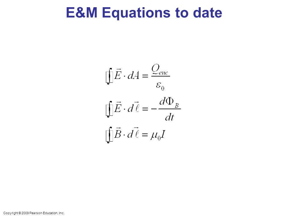 Copyright © 2009 Pearson Education, Inc. E&M Equations to date