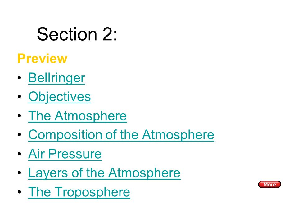 Section 2: The Atmosphere Preview Bellringer Objectives The Atmosphere Composition of the Atmosphere Air Pressure Layers of the Atmosphere The Troposphere