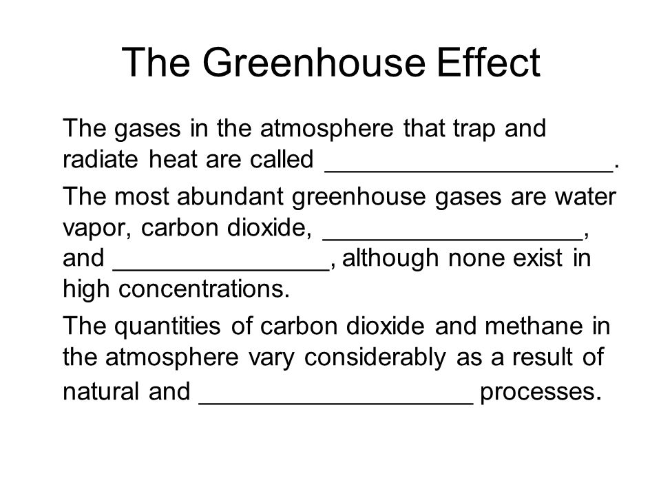 The gases in the atmosphere that trap and radiate heat are called ____________________.