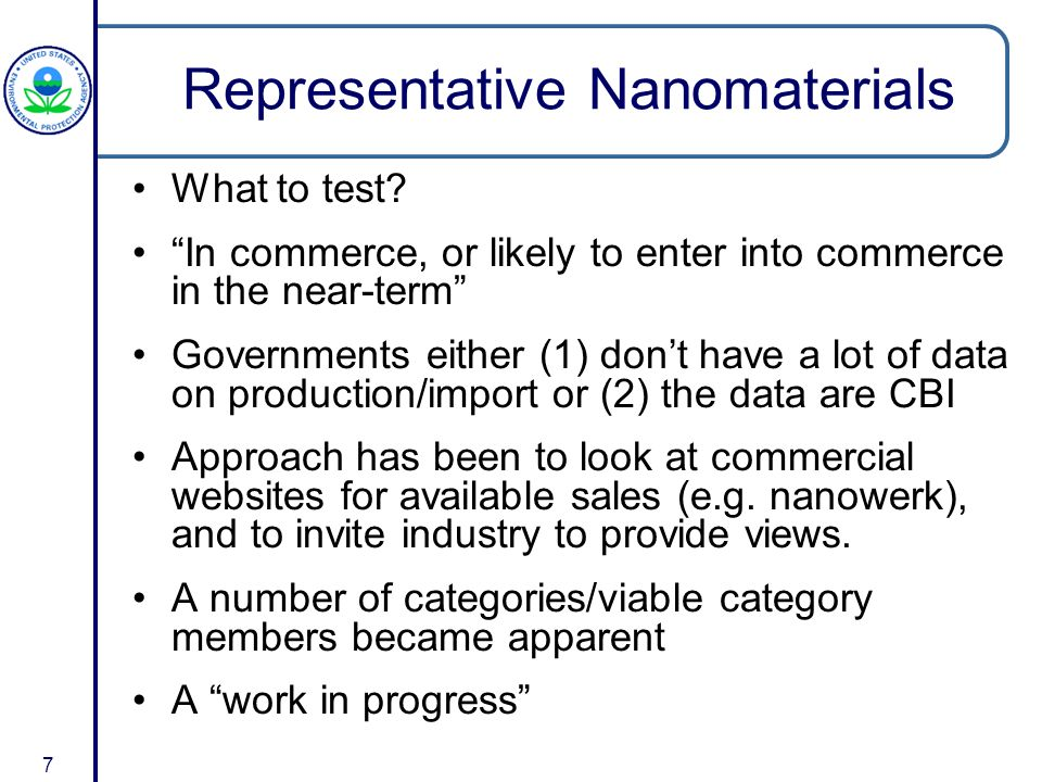 7 Representative Nanomaterials What to test.