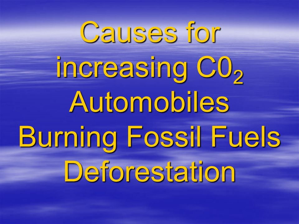 Causes for increasing C0 2 Automobiles Burning Fossil Fuels Deforestation