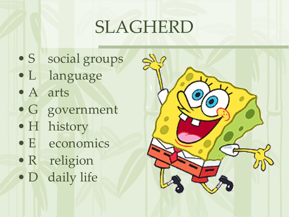 SLAGHERD S social groups L language A arts G government H history E economics R religion D daily life