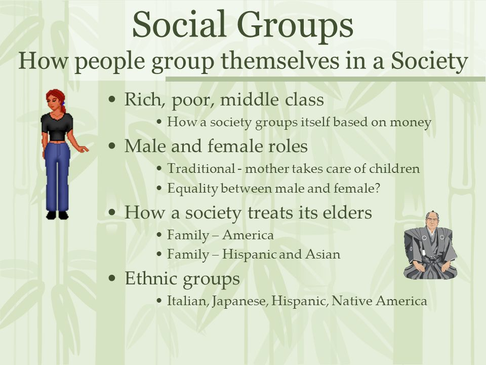 Social Groups How people group themselves in a Society Rich, poor, middle class How a society groups itself based on money Male and female roles Traditional - mother takes care of children Equality between male and female.
