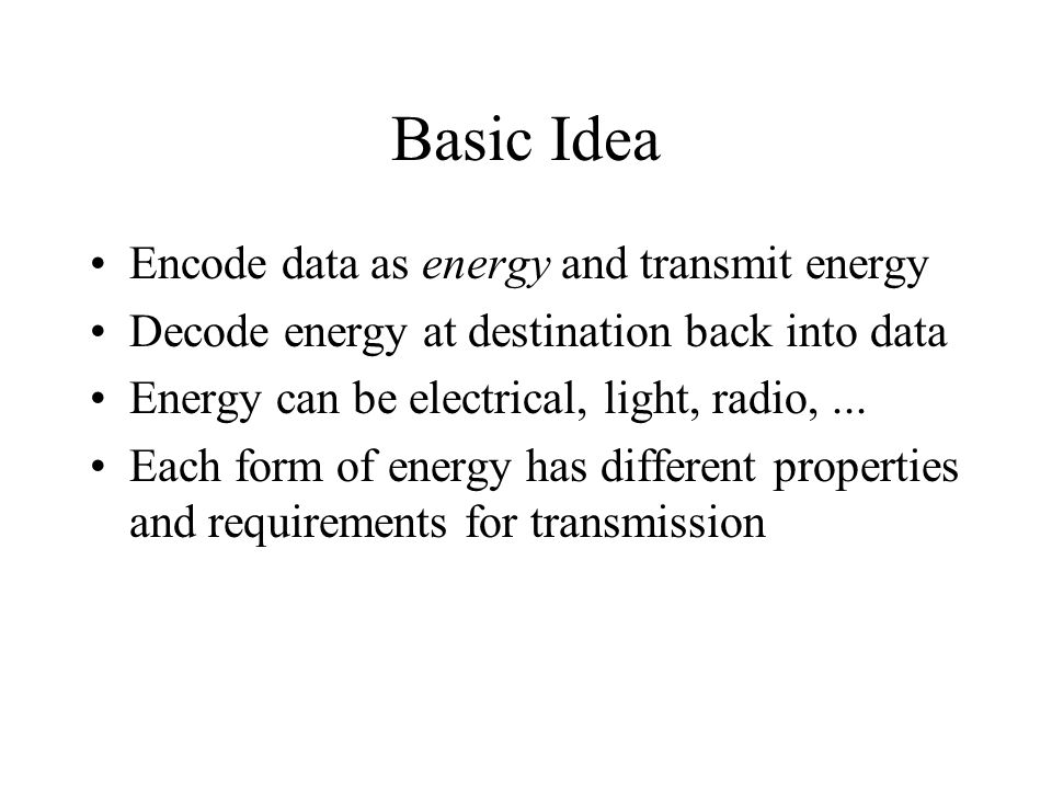 Basic Idea Encode data as energy and transmit energy Decode energy at destination back into data Energy can be electrical, light, radio,...