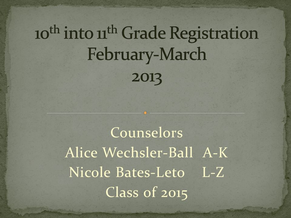 Counselors Alice Wechsler-Ball A-K Nicole Bates-Leto L-Z Class of 2015