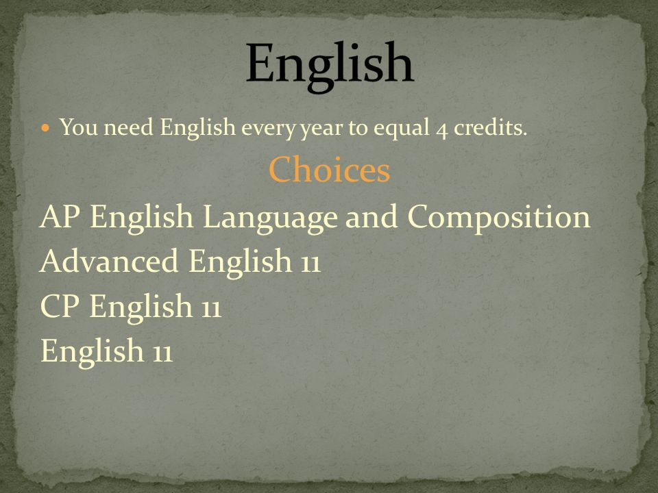 You need English every year to equal 4 credits.