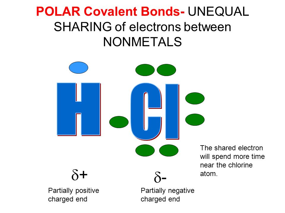 POLAR Covalent Bonds- UNEQUAL SHARING of electrons between NONMETALS ++ -- Partially positive charged end Partially negative charged end The shared electron will spend more time near the chlorine atom.