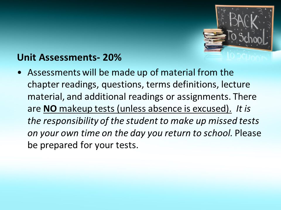 Unit Assessments- 20% Assessments will be made up of material from the chapter readings, questions, terms definitions, lecture material, and additional readings or assignments.